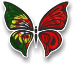 Ornate Butterfly Wings Design With Portugal Portuguese Flag Motif Vinyl Car Sticker 100x85mm